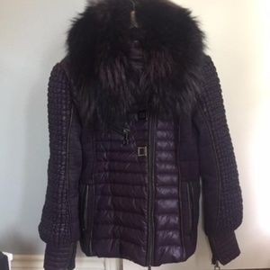 29d3fcbaa5 Sportalm quilted purple puffer coat REAL fur